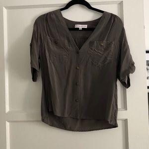 Amanda Uprichard grey silk blouse